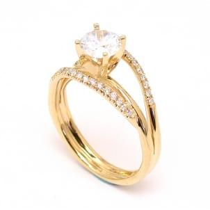 Оправа кольца с бриллиантом из розового золота