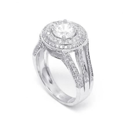 Оправа бриллиантового кольца с центральным камнем