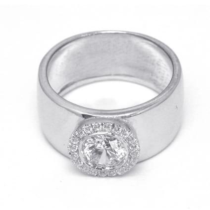 Оправа широкое кольцо с круглым бриллиантом