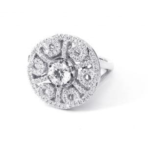 Оправа бриллиантовое кольцо с центральным камнем 1 карат