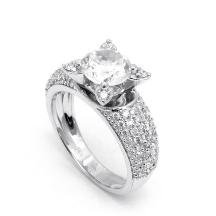 Оригинальная оправа кольцо с круглым бриллиантом 1 карат