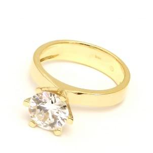 Оправа: кольцо классическое с большим  бриллиантом