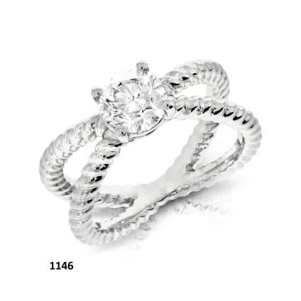 Оригинальное классическое кольцо с 1 бриллиантом