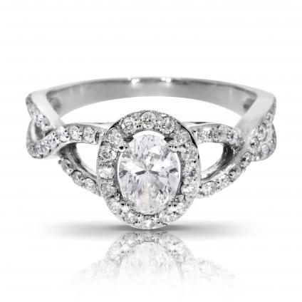 Кольцо с овальным бриллиантом 1 карат