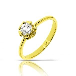 Кольцо из желтого золота с круглым бриллиантом 0.75 карат