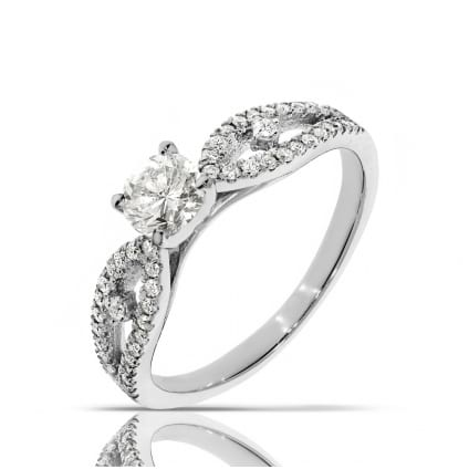 Кольцо из белого золота с бриллиантом 1 карат