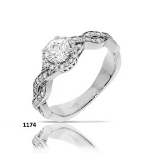 Помолвочное кольцо с бриллиантом Круг от 1 карата