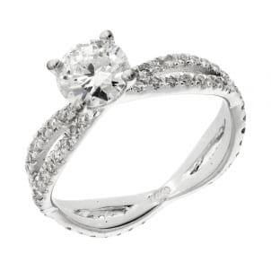 Кольцо с дорожками бриллиантов по кругу