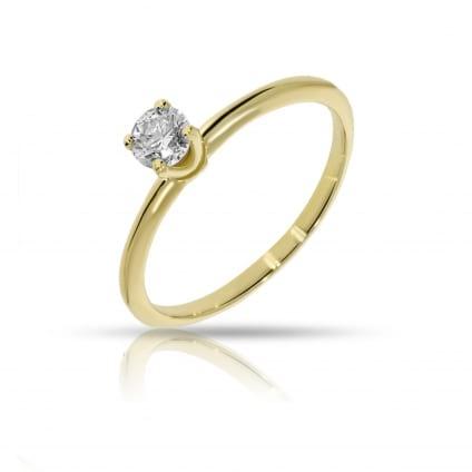 Тонкое классическое кольцо с бриллиантом 0.5 карат