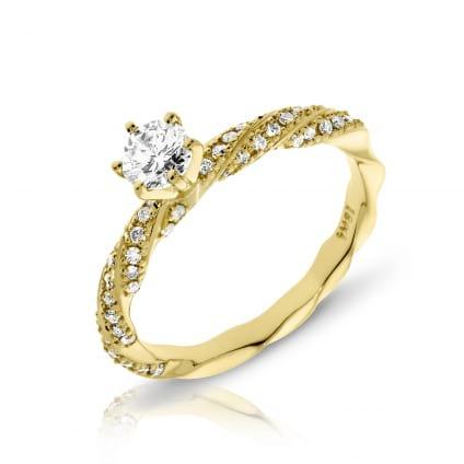 Кольцо в желтом золоте с бриллиантом от 0,50 карат