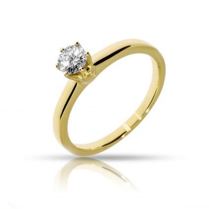 Кольцо из желтого золота с бриллиантом от 0.5 карат