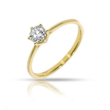Тонкое золотое кольцо с 1 бриллиантом 1 карат