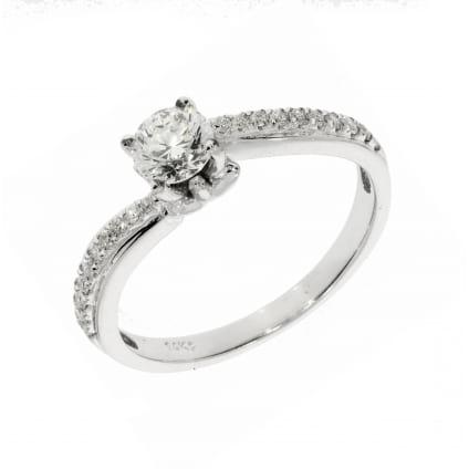 Золотое кольцо с бриллиантом от 0,70 карат Круг