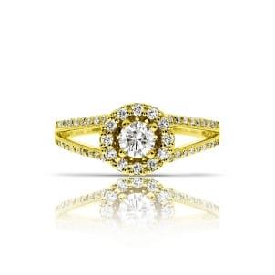 Кольцо с круглым бриллиантом 1 карат в ободке