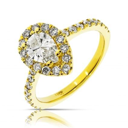 Кольцо с бриллиантом грушевидной огранки