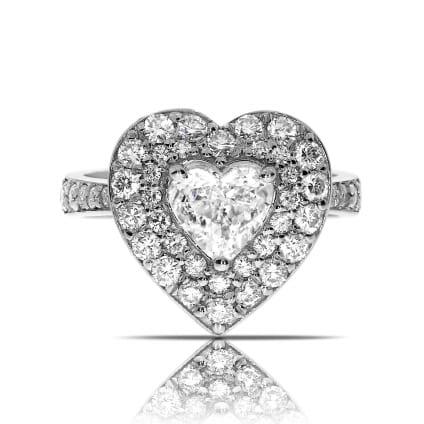Кольцо с бриллиантом сердце в двойном ободке