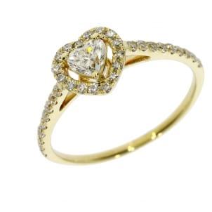 Кольцо из желтого золота с бриллиантом Сердце