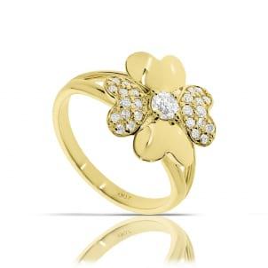 Кольцо из желтого золота с центральным камнем 0.50 карат
