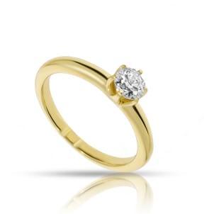 Кольцо с бриллиантом полкарата в желтом золоте