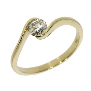 Тонкое кольцо желтое золото с бриллиантом 0.5 карат