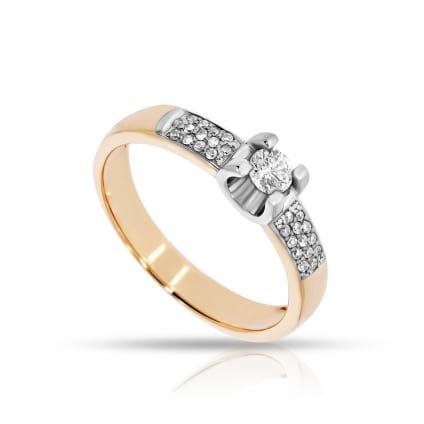 Кольцо комбинированное золото с бриллиантами