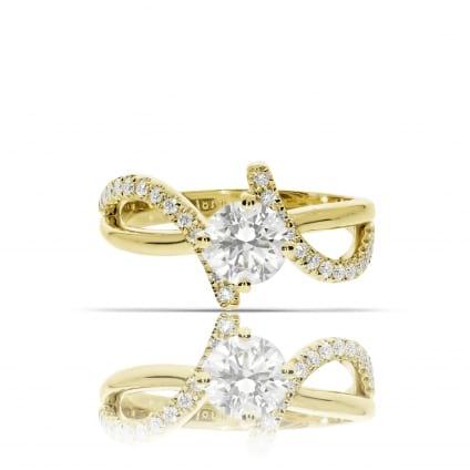 Комбинированное золото с бриллиантами - кольцо