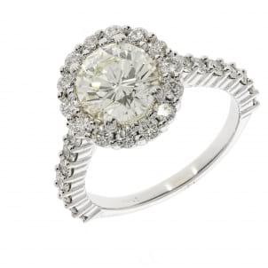Золотое кольцо с бриллиантом 2 карата в ободке
