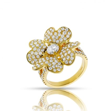 Дизайнерское кольцо с россыпью бриллиантов