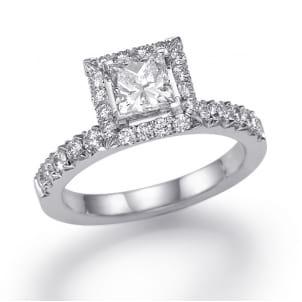 Оправа из белого золота бриллиантовое кольцо