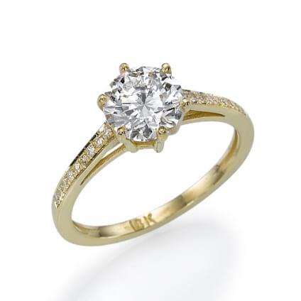 Оправа кольцо из желтого золота 750 пробы с бриллиантами