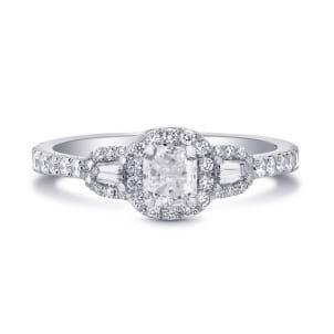 Оправа кольцо двумя боковыми бриллиантами и центральным Радиант