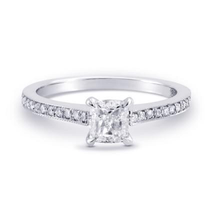 Оправа: тонкое кольцо с квадртаным бриллиантом