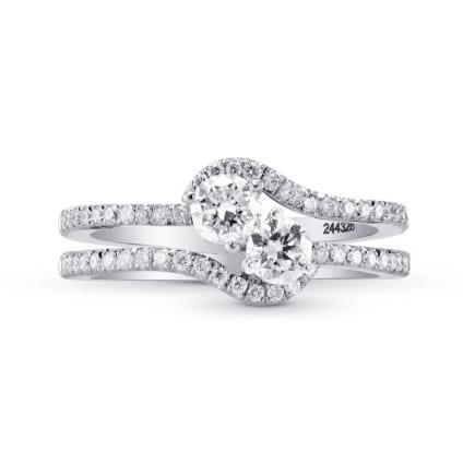 Оправа двойное кольцо с двумя бриллиантами