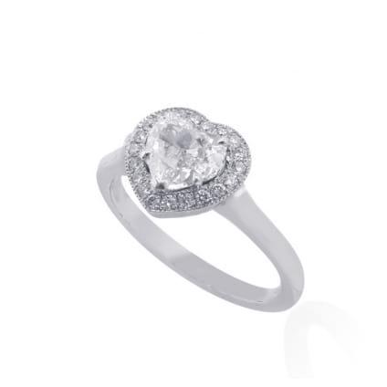Оправа тонкого кольца для бриллианта Сердце