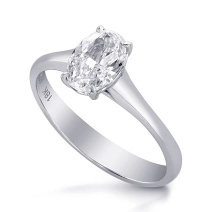 Классическая оправа кольцо с овальным бриллиантом