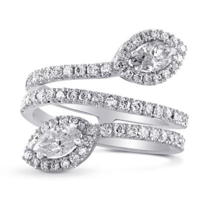 Оправа кольцо для двух бриллиантов Маркиза