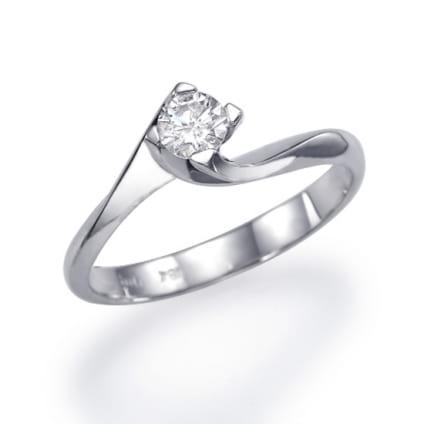 Изящная золотая оправа классическое кольцо с бриллиантом