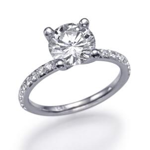 Тонкая оправа кольцо с бриллиантом 1.5 карата