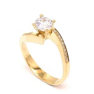 Оправа: разомкнутое золотое кольцо с бриллиантом от 0.5 карата