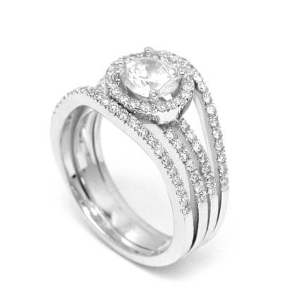 Оправа кольцо из белого золота с бриллиантом