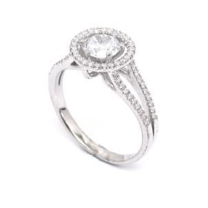 Золотая оправа кольцо для бриллианта круг 1 карат
