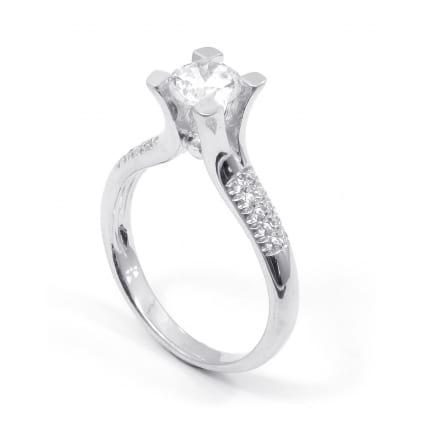 Тонкая оправа кольцо золото с бриллиантом от 0.8 карат