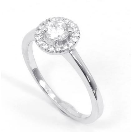 Оправа тонкое кольцо с бриллиантом 0.7 карата