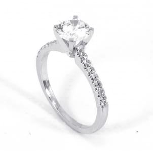 Тонкая бриллиантовая оправа кольца для вставки 1 карат
