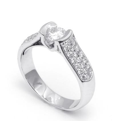 Оправа кольцо с бриллиантом в белом золоте
