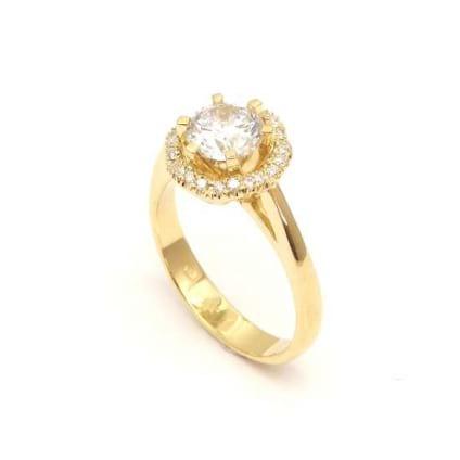 Оправа кольцо розовое золото с бриллиантом