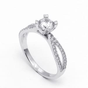 Изящная оправа кольцо с бриллиантом от 1 карата круг