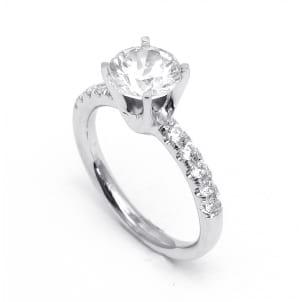 Золотая оправа кольцо с бриллиантом от 1 карата