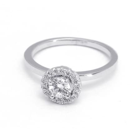 Оправа из белого золота Кольцо с бриллиантом в ободке