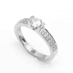 Оправа кольца для помолвки белое золото с бриллиантами